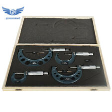 New 4pcsset 0 4 Outside Micrometer Precision 00001 Carbide Tipped