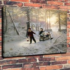 HD Print Mark Keathley Kids In The Woods Art Deco Painting on Canvas 16x20