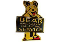 "RARE  ""BEAR"" WHEEL ALIGNMENT SERVICE Die Cut Metal SIGN....NICE!"