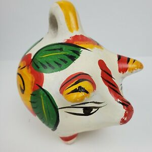 Vintage FOLK ART Mexican Pottery Ceramic Piggy Bank 7x7x5 Inch
