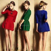 New Women Fashion Long Sleeve O-Neck Sexy Slim Dress Vintage Style Casual Dress