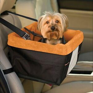 Kurgo Skybox Car Booster Seat for Small Dogs, Black/Orange