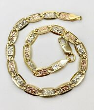 "14K Tri Color Gold 5 MM Diamond Cut Valentino Chain Bracelet 7.5 Gr 8"" Unisex"