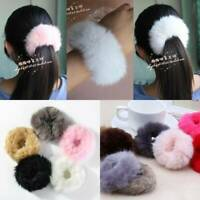 New Women Girls Fluffy Faux Fur Furry Scrunchie Elastic Hair Ring Rope Band jc