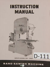 Doall Zephyer ZW3620 Band Saw Instructions Manual