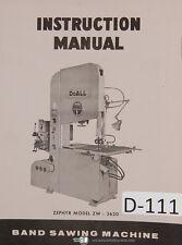 Doall Zephyer Zw3620 Band Saw Instructions Manual