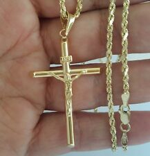 14k yellow gold rope chain 16 inches long 2 mm and Jesus crucifix pendant 2 inch