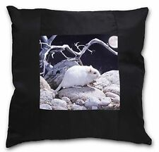 White Gerbil Black Border Satin Feel Cushion Cover With Pillow Inser, GERB-1-CSB