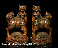Old Chinese Boxwood wood Carved Kylin Chi-lin Qilin Lucky God Beast Statue Pair