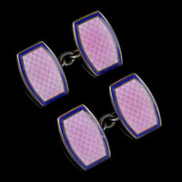 ART DECO CUFFLINKS PINK BLUE ENAMEL SILVER GOLD GILT CIRCA 1920