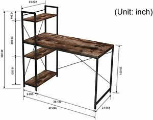 Computer Desk 47 inch with 4 Tier Shelves - (2 Colors)