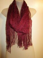 Scarf Wrap Shawl Bright Metallic Burgundy Knit Fringe Cocktail Party Cover BinA