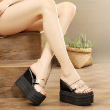 Womens Peep Toe Rhinestone Clear Slippers Platform Wedge Heel Sandals Shoe Rivet