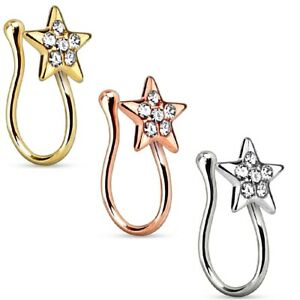 Ladies Nose Clip Nose Piercing Fake Piercing Clip with Star And Crystals