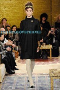 CHANEL 11A $6K PARIS BYZANCE BROOCH JEWELED BLACK TWEED COAT JACKET CAPE,38,NWT