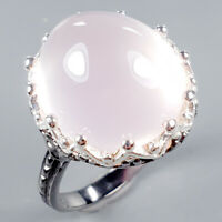 Handmade18ct+ Natural Rose Quartz 925 Sterling Silver Ring Size 8.25/R125499