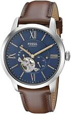 Fossil Men s Townsman ME3110 Blue Leather Japanese Automatic Dress Watch 9714f8a068