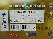 VIP TICKET 2007/08 SV Werder Bremen - Hertha BSC