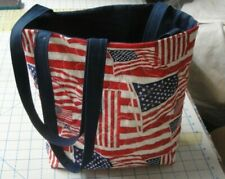 American Drapeaux Sac Bag-Machine Quilted-Red-White-Blue-Hand Made-Navy Doublure