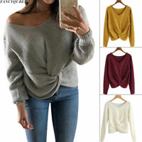 HOT Winter Womens V-Neck Knot Twist Sweater Cross Knitted Long Sleeve Pullover