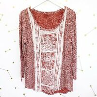 Lucky Brand Top Size Large L Red White Printed Distressed 3/4 Sleeves Boho Shirt