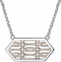 """ELLE 16"""" + 2"""" Sterling Silver Necklace w/ Rose Gold Plated Pendant"""