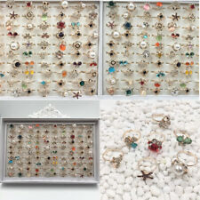Wholesale Ring lots jewelry 100pcs Pearl Natural Gemstone Stone Adjustable Rings
