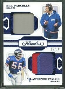 2020 Flawless Bill Parcells / Lawrence Taylor Dual Patch Card Sapphire #d 6/10