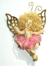New listing Amazing Vintage Miniature Pink Fairy Pixie Angel Pin Butterfly Girl Tutu Brooch