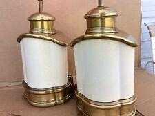 VINTAGE CHAPMAN CANISTER APOTHECARY JARDINIERE BRASS LAMP CRAZED PORCELAIN GLAZE