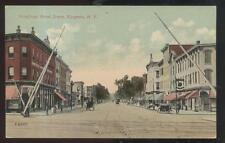 Postcard Kingston New York/Ny Business Storefronts & Railroad Crossing 1907