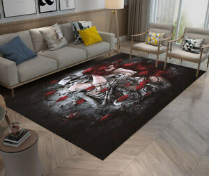 Beauty & Skeleton Death Rose Yoga Carpet Floor Home Decor Mat Bedroom Area Rugs