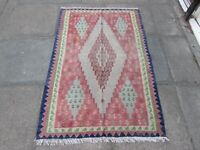 Fine Old Traditional Hand Made Persian Oriental Wool Pink Small Kilim 154x102cm