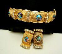 Rare Vintage Signed Hobe' Goldtone AB Rhinestone Bracelet Clip Earring Set M3