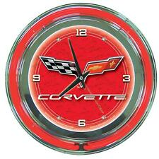 Chevrolet Corvette Flags Red Neon Analog Wall Clock Muscle Car Garage Sign Logo