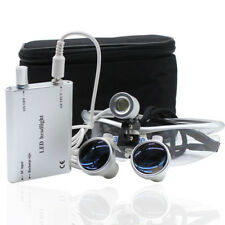 Dental 3.5X420mm Surgical Medical Binocular Loupes w/ LED Head Light Lamp Silver