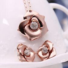 Fashion Women Bridal Rhinestone Rose Necklace Earrings Jewelry Set Gift Fashion