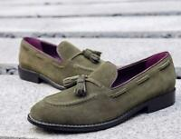 Party Men's British Loafers Pumps Tassel Suede Leather Shoes Slip on Business Sz