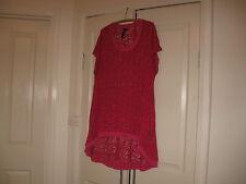 Ladies Long Top Plus Size Large  Design T.S. Dark Pink Polyester 97% Elastane 3%