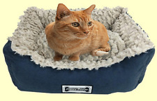 Padded Dog and Cat Bed, Pet Basket, Faux Suede, Faux Sheepskin Lining - Navy