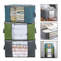 Large Foldable Non-woven Clothes Quilt Blanket Zipper Storage Bag Organizer Box