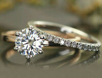 2.23ct Round Solitaire Diamond Engagement Ring Wedding Band Solid 14k White Gold