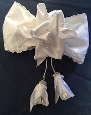 Spange mit Schleife und Blumen festlich weiß Haarschmuck Handarbeit