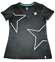 Nike Dri-Fit Womens Workout Short Sleeve Shirt Size Medium Black Stars Goth Punk