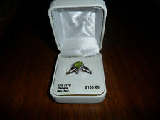 August Birthstone Peridot Diamond Sterling Silver Ring 1/10 CTTW SIZE 7