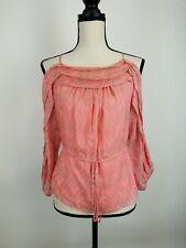 Rebecca Taylor Silk Blouse Top Womens 6 Pink Cold Shoulder Drawstring A17-04