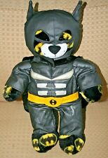 "Build a Bear Batman Plush Teddy + Costume Hood Cape Black & Yellow Logo 16-17"""