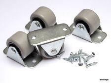 32 gomma rigido FISSO ROTELLE RUOTE casrers 30 mm mobili cassetto da letto/scatole