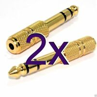 [2 pack] 3.5mm Stereo Socket to 6.35mm 1/4 inch Stereo Plug GOLD Adapter [004990