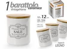 Set 3 barattoli in ceramica tappo in legno sale zucchero caffè 10*12 CRE-754166
